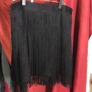 Express black fringe skirt